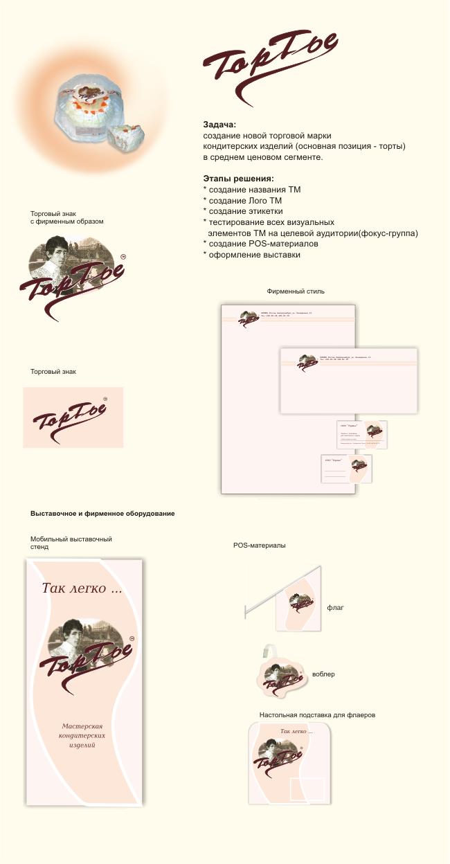 Создание новой марки кондитерских изделий - Тортье: разработка логотипа и фирменного стиля, оформление выставки, создание POS-материалов, этикетки