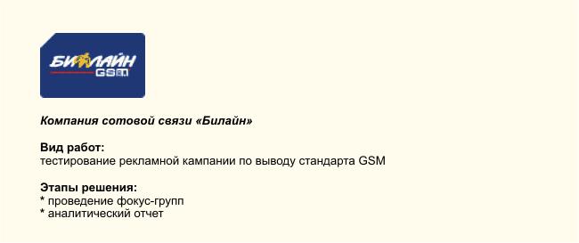 тестирование рекламной кампании по выводу стандарта GSM